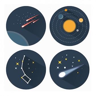 Coleção dos ícones astronomia