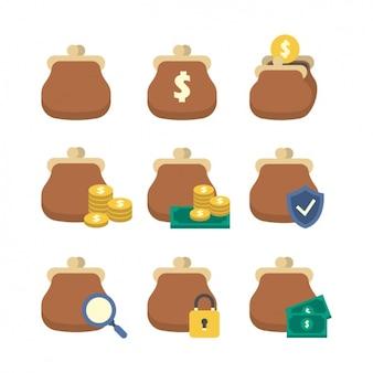 Coleção dos ícones da bolsa