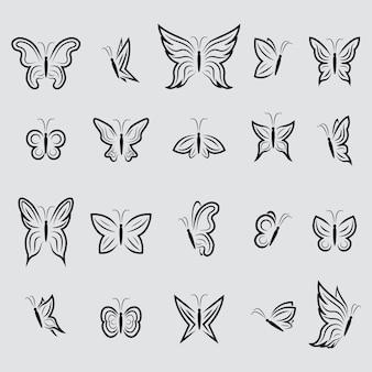 Coleção dos ícones da borboleta