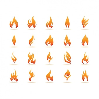 Coleção dos ícones de chamas