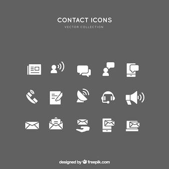 Coleção dos ícones de contato branco