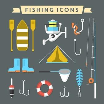 Coleção dos ícones de pesca