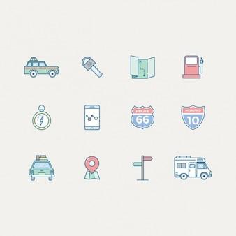 Coleção dos ícones de viagens