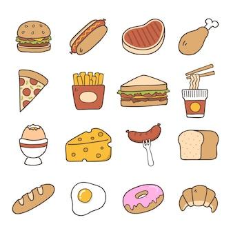 Coleção dos ícones do alimento