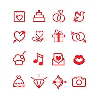 Coleção dos ícones do amor