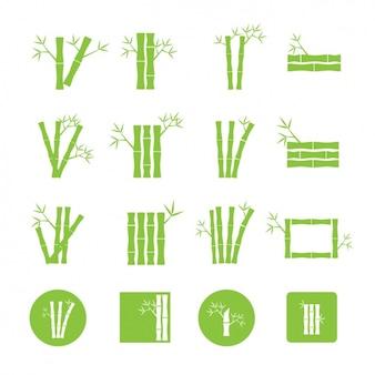 Coleção dos ícones do bambu verde