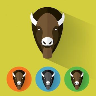 Coleção dos ícones do buffalo