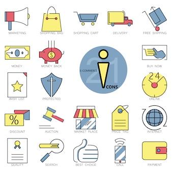 Coleção dos ícones do e-commerce