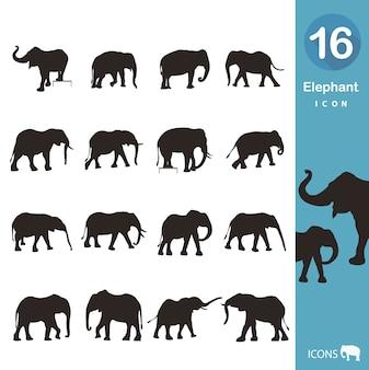 Coleção dos ícones do elefante