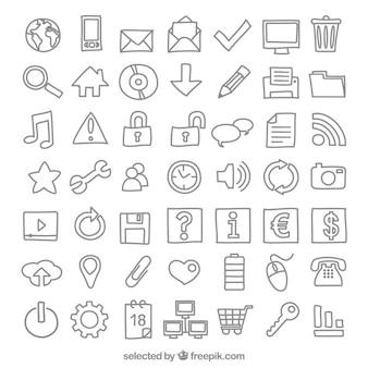 Coleção dos ícones do esboçado