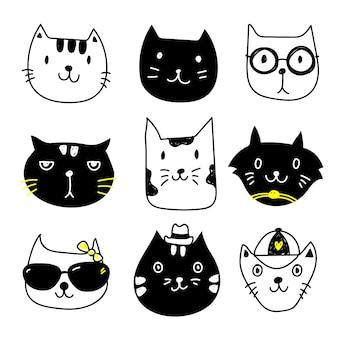 Coleção dos ícones do gato