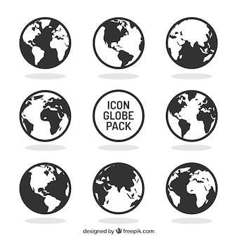 Coleção dos ícones do globo