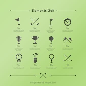 Coleção dos ícones do golfe