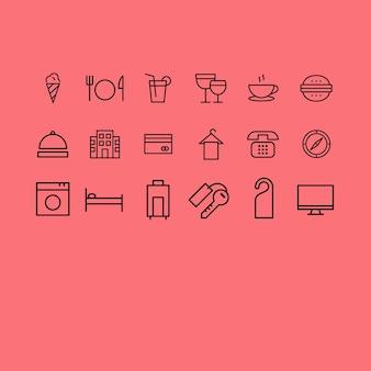 Coleção dos ícones do hotel