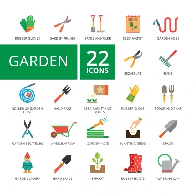 Coleção dos ícones do jardim
