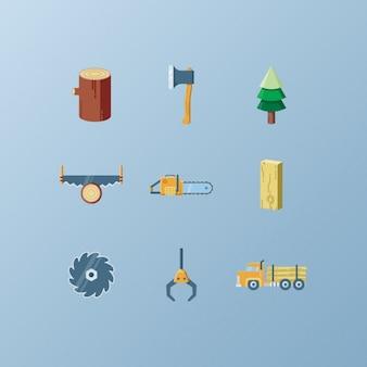 Coleção dos ícones do lenhador