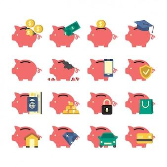 Coleção dos ícones do piggybank