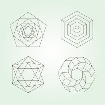 Coleção dos ícones do poligonais