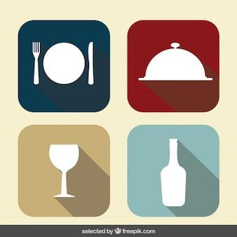 Coleção dos ícones do restaurante