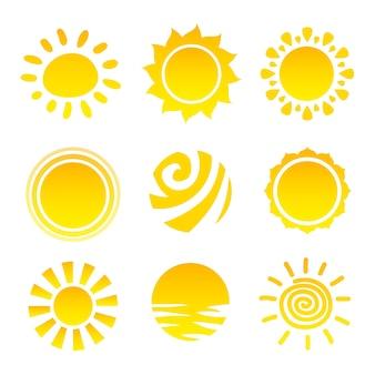 Coleção dos ícones do sol