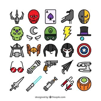 Coleção dos ícones do super-herói