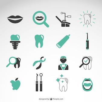 Coleção dos ícones do vetor dentista