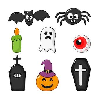 Coleção dos ícones felizes de halloween ajustados isolados no branco.