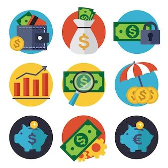 Coleção dos ícones finanças