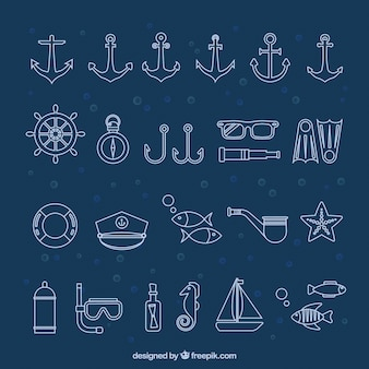Coleção dos ícones marinhos