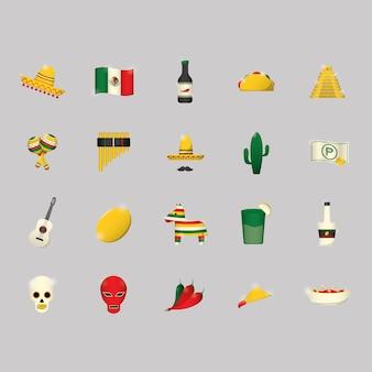 Coleção dos ícones mexicanos