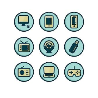 Coleção dos ícones tecnológicos