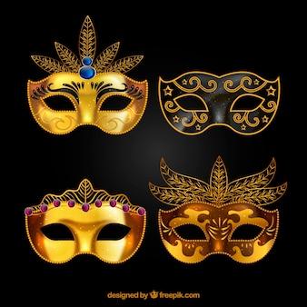 Coleção dourada de máscaras de carnaval