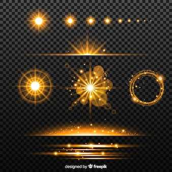Coleção efeito de luz dourada