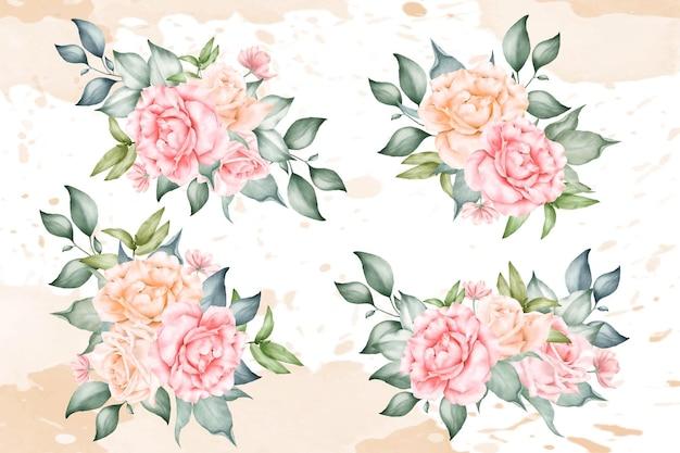 Coleção elegante de arranjos florais