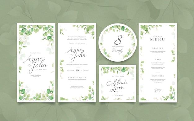 Coleção elegante de artigos de papelaria para casamento