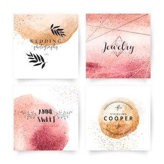 Coleção elegante de cartões com adoráveis logotipos