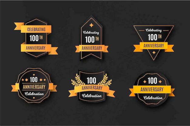 Coleção elegante de emblemas do 100º aniversário