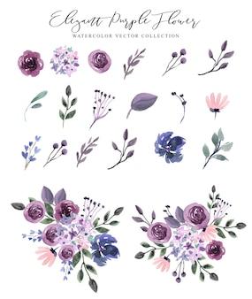 Coleção elegante de flores roxas em aquarela