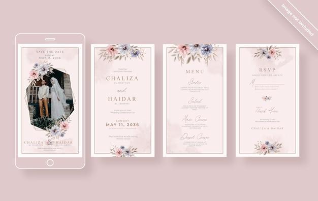 Coleção elegante de histórias de casamento no instagram Vetor Premium