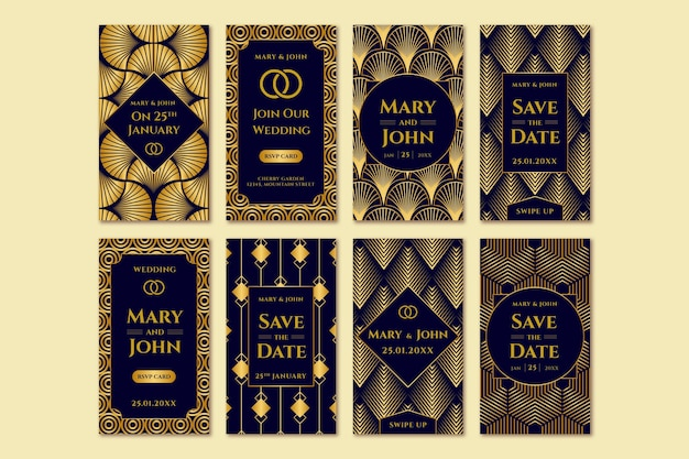 Coleção elegante de histórias de casamento no instagram