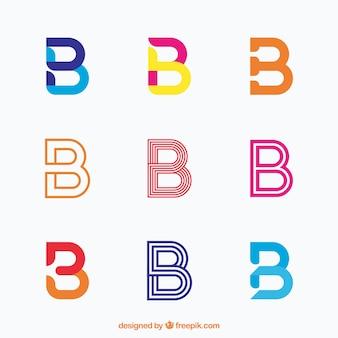 Coleção elegante de logotipo da letra b
