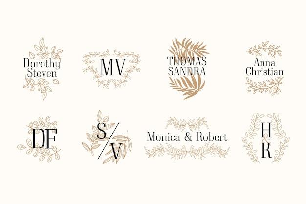 Coleção elegante de monograma de casamento