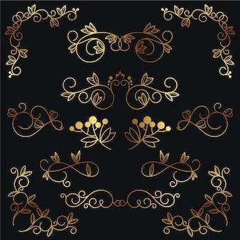 Coleção elegante de ornamentos caligráficos dourados