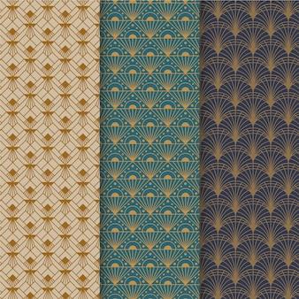 Coleção elegante de padrões art déco