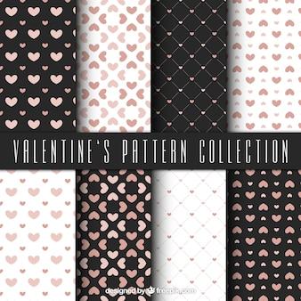 Coleção elegante de padrões valentine