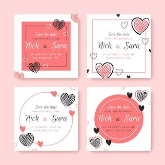 Coleção elegante de postagens de casamento no instagram