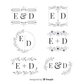 Coleção elegante do logotipo do monograma do casamento
