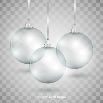 Coleção elegante e translúcida de bolas de natal