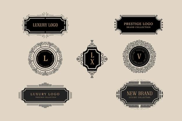 Coleção elegante logotipo vintage
