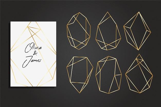 Coleção elegante moldura dourada poligonal estilo